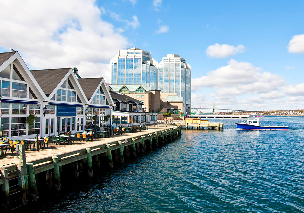 An image rendering of the Halifax Waterfront on a sunny day.