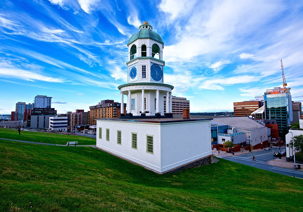An image rendering of the Halifax Clock Tower and the city on a sunny day.