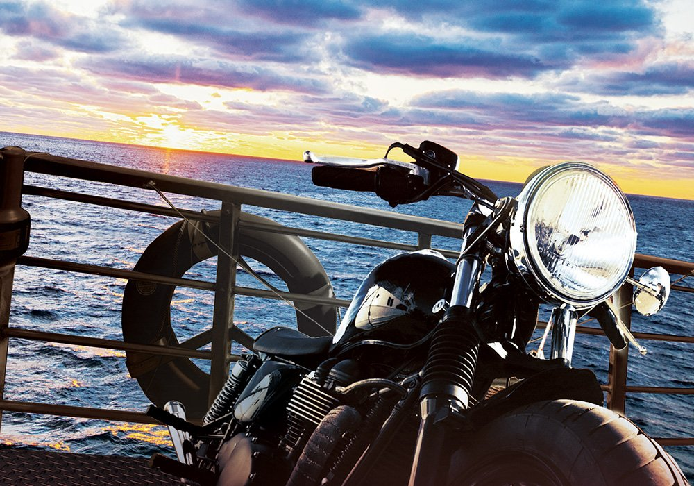 An image rendering of a motorcycle on a boat at sunset.