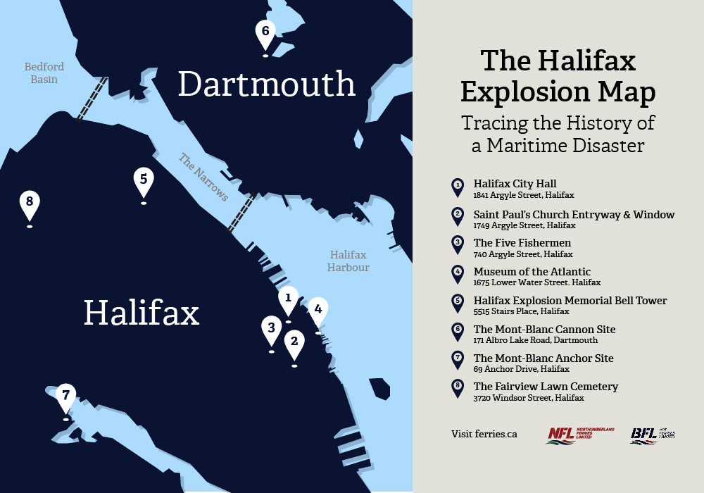 The Halifax Explosion Map Ferries